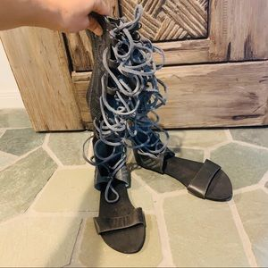 Free people lace up gladiator flat sandals